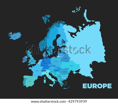europe modern dark detailed map all stock vector royalty free