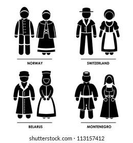 Europe - Norway Switzerland Belarus Montenegro Man Woman People National Traditional Costume Dress Clothing Icon Symbol Sign Pictogram