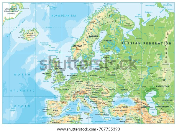 Europe Physical Map Detailed Vector Illustration Stock ...
