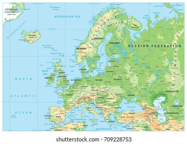 Europe Physical Map. No bathymetry. Detailed vector illustration of Europe Physical Map.