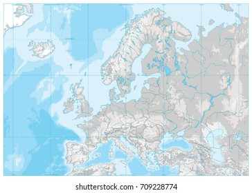 Europe Physical Map. White and Gray. No text. Detailed vector illustration of Europe Physical Map.