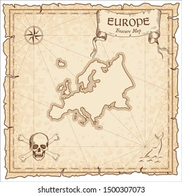 Europe pirate map. Ancient style map template. Old continent borders. Vector illustration.