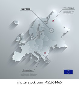 Europe political map flag glass card paper 3D vector individual states separate