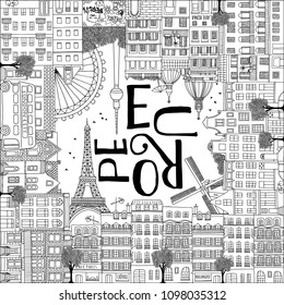 Europe postcard template with hand drawn houses of Paris, Amsterdam, Rome, Berlin and London