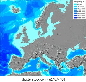 Europe shaded relief map with ocean bathymetry. Detailed editable vector, generated using GIS in Albers equal area conic projection.