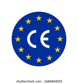 Europe sign with CE mark. Vector isolated illustration. Certificate vector icon. Vector icon quality guarantee. EPS 10
