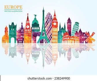 Europe skyline detailed silhouette. Vector illustration