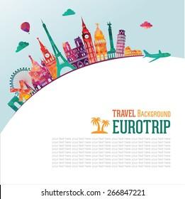 Europe skyline detailed silhouette. Vector illustration