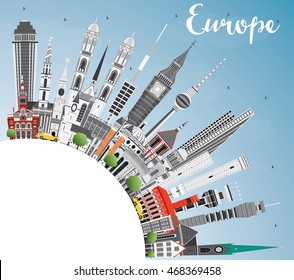 Europe skyline silhouette with different landmarks and copy space. Vector illustration. Business travel and tourism concept with place for text. Image for presentation, banner, placard and web site.