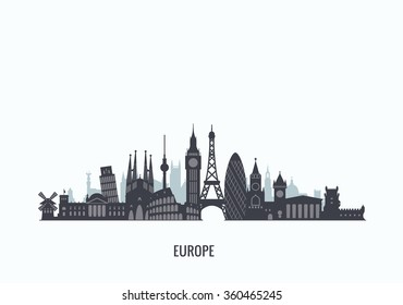 Europe skyline silhouette. Travel and tourism background. Vector flat illustration