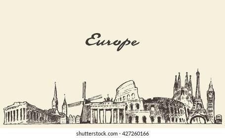 Europe skyline, vintage vector engraved illustration, hand drawn, sketch