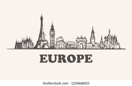 Europe skyline vintage vector illustration, hand drawn buildings of Europe on white background.
