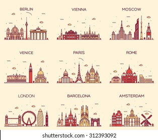 Europe skylines detailed silhouette. Berlin, Vienna, Moscow, Venice, Paris, Rome, London, Amsterdam, Barcelona. Trendy vector illustration, line art style.