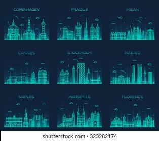 Europe skylines detailed silhouette. Copenhagen, Prague, Milan, Cannes, Stockholm, Madrid, Naples, Marseille, Florence. Trendy vector illustration, line art style.
