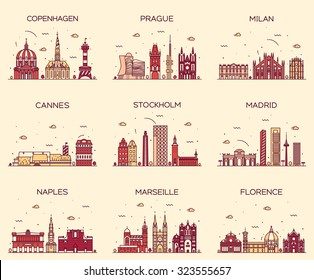 Europe skylines detailed silhouette. Copenhagen, Prague, Milan, Cannes, Stockholm, Madrid, Naples, Marseille, Florence. Trendy vector illustration, line art style.