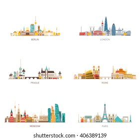 Europe skylines set. Berlin, London, Prague, Rome, Moscow, Paris. Vector illustration, flat style.