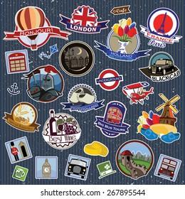 Europe. Stickers and Symbols. Mix set 1