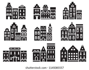 Europe street and house icons in outline design. Scandinavian and british townhouse facades. Historic town houses icon set. Danish, english or german downtown street logo and emblems collection.