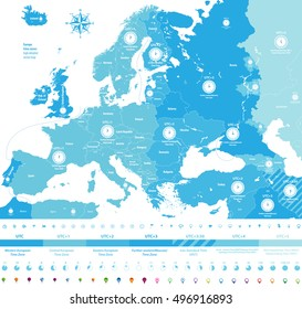 Europe time zones high detailed map with location and clock icons. All layers detachable and labeled. Vector