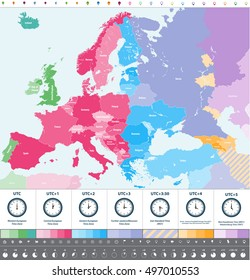 Europe time zones high detailed map with location buttons and clock icons. All layers detachable and labeled. Vector