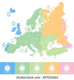 Time Zone Map Stock Vectors Images Vector Art Shutterstock