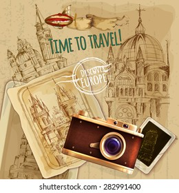 Europe travel with camera and balloon vintage poster vector illustration