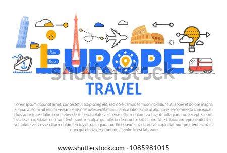 Europe Travel Promotional Banner Sample Text Stock Vector (Royalty