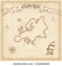 Europe treasure map. Ancient style map template. Old continent borders. Vector illustration.