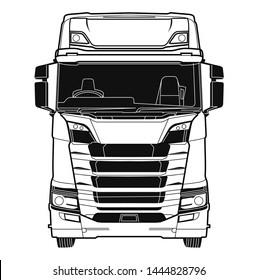 Europe truck line art background vector