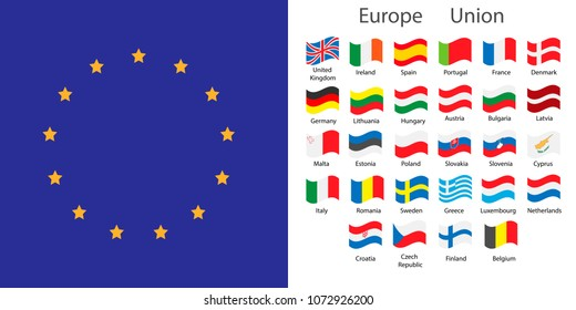 Europe Union countries flags set
