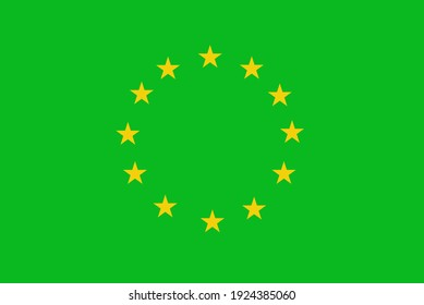 Europe Union EU ecology flag vector illustration. Green energy save nature and economy. Environmental and ecological policy of climate neutrality.