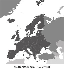 Europe vector map colored by continents: black is Europe, light black is partly in Europe partly in Asia, grey is Asia and north Africa