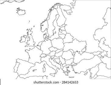 Europe white contour vector political map with state borders