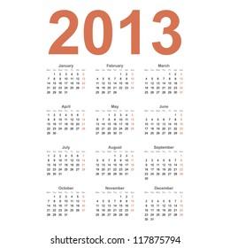 European 2013 year vector calendar