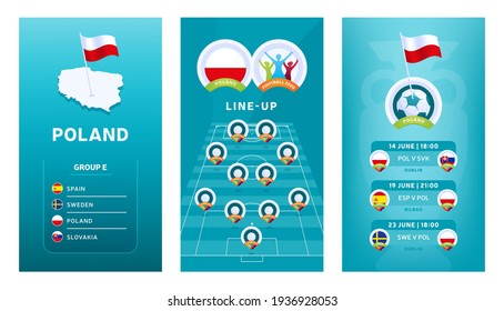 European 2020 football vertical banner set for social media. Euro 2020 Poland group E banner with isometric map, pin flag, match schedule and line-up on soccer field