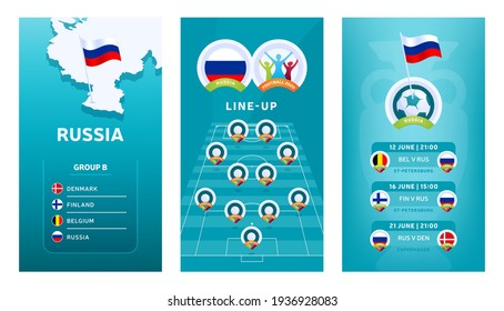 European 2020 football vertical banner set for social media. Euro 2020 Russia group B banner with isometric map, pin flag, match schedule and line-up on soccer field