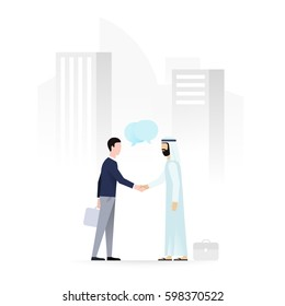 European and arab businessmen shaking hands on a background of cityscape with skyscrapers. Business meeting, partnership, agreement concept. Flat vector illustration.