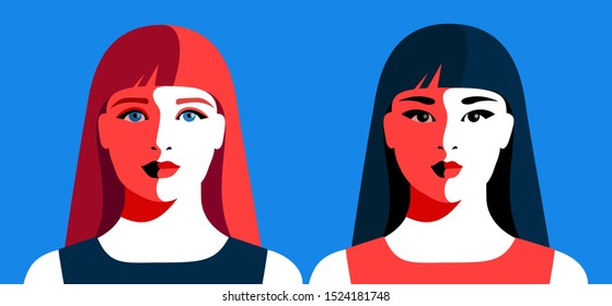 European and asian girls with long hair. Abstract female portraits. Vector illustration