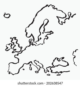 European boarder drawing by brush. Vector map of Europe. White outline illustration on black background.