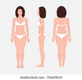 European brunette woman naked body standing in full growth in underwear. Front, side and back view. Vector illustration for advertising, medical (health care), bodybuilding, sport publications. EPS 8.