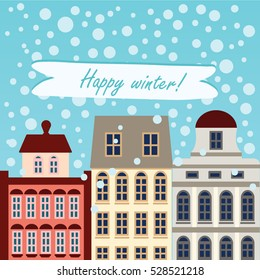 "European buildings with snow and ""Happy winter"" text. Good for cards and invitation."