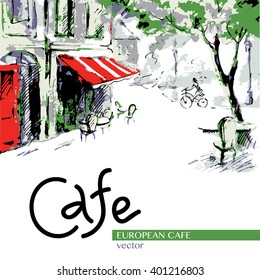 European cafe, graphic drawing in color. Postcard. French outdoor european cafe painting