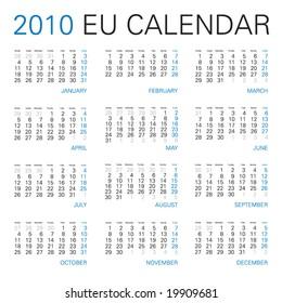 european calendar for year 2010