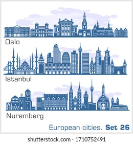 European cities - Oslo, Istanbul, Nuremberg. Detailed architecture.