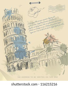 European cities symbols sketch. Leaning tower of Pisa Italy on Vintage Old papers