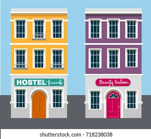 European city houses with flat illustration for web or advertising editions