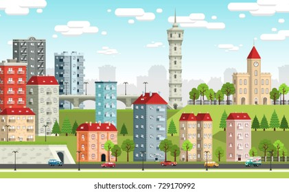 European city landscape with colored houses, town hall, tower, tunnel, bridge, trees, Street light, cars. Vector illustration.