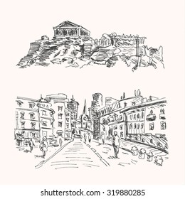 European city view landscape and Parthenon in Greece Athens, in sketch hand drawn style, travel landmark and ancient art design