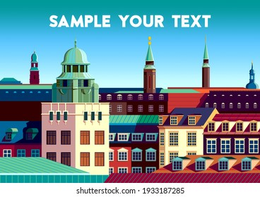 European cityscape with traditional houses, roofs, churches, bell towers. Retro style poster.