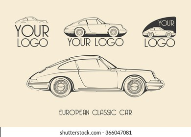 European classic sports car silhouettes, outlines, contours. Your Logo